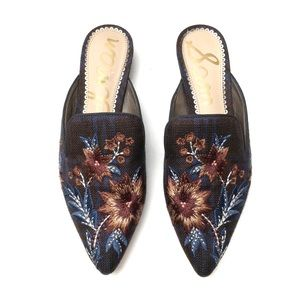 Sam Edelman Floral Embroidered Pointy Mules